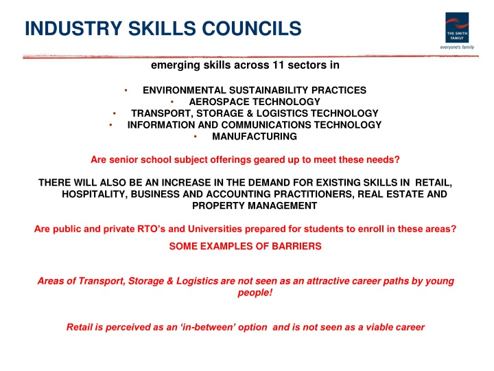 INDUSTRY SKILLS COUNCILS