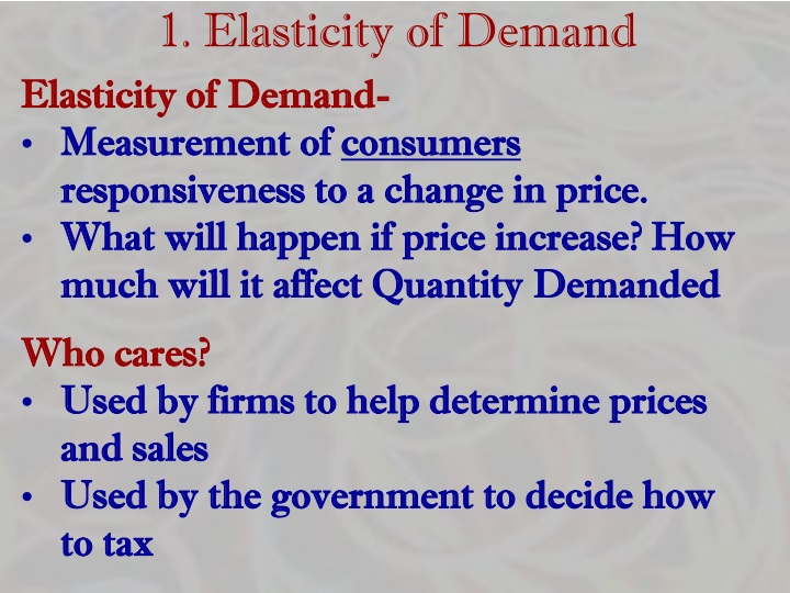 1. Elasticity of Demand