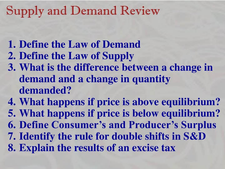 Supply and Demand Review