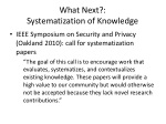 what next systematization of knowledge