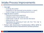 intake process improvements