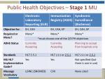 public health objectives stage 1 mu