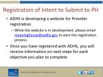 registration of intent to submit to ph1