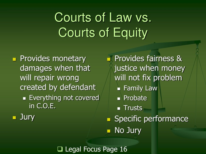 Provides monetary damages when that will repair wrong created by defendant