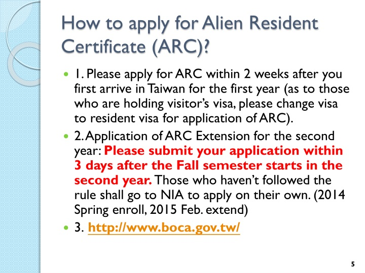 How to apply for Alien Resident Certificate (ARC)?