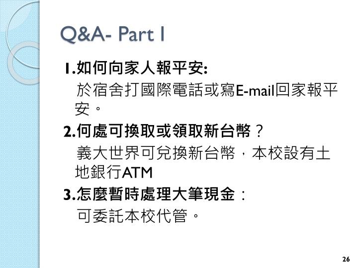 Q&A- Part I