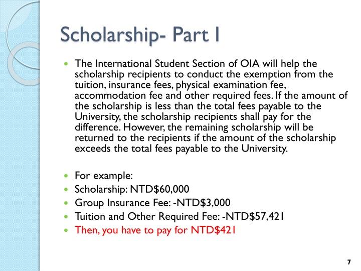 Scholarship- Part I