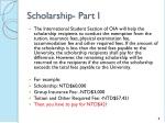 scholarship part i