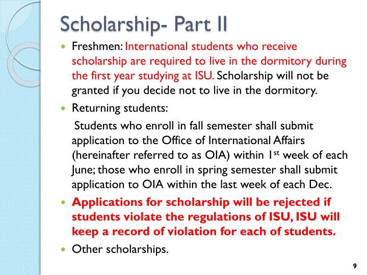 Scholarship- Part II
