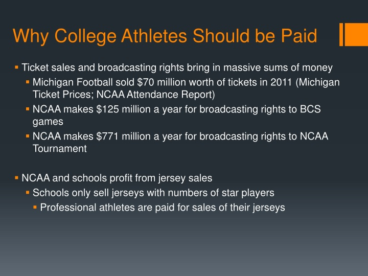 should college athletes be paid essay College is where the line has been drawn and a garrison has risen to protect it if the populace were to concede and pay someone who plays sports, then america would see people clamoring for outstanding high school athletes to be paid, which, of course, is absurd college is where one should gain the education to.