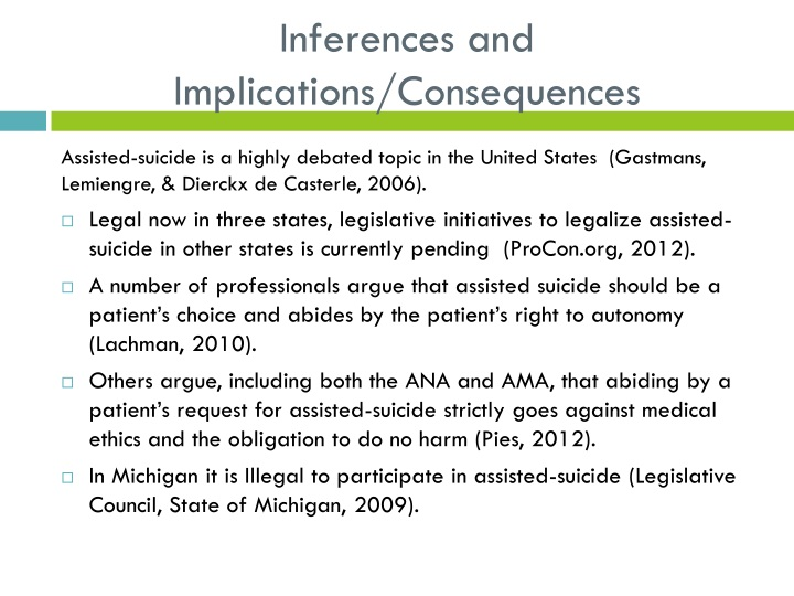 Inferences and Implications/Consequences