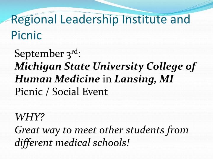 Regional Leadership Institute and Picnic