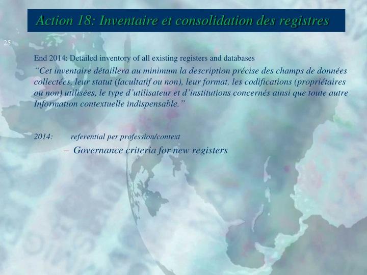 Action 18: Inventaire et consolidation des registres