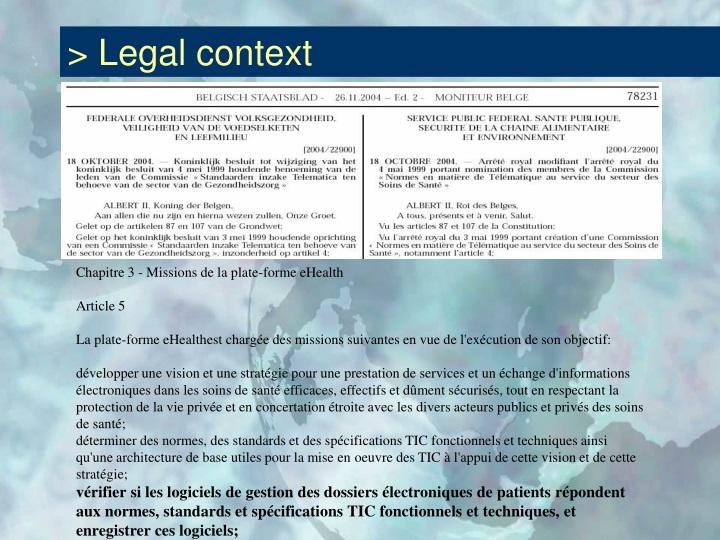 > Legal context