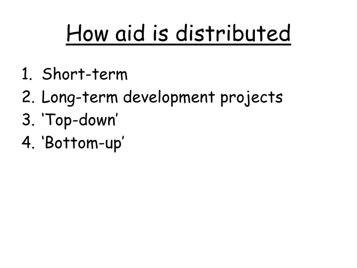 How aid is distributed