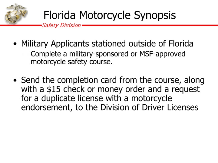 Florida Motorcycle Synopsis
