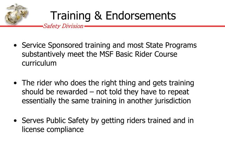Training & Endorsements
