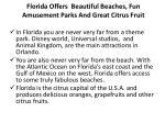 florida offers beautiful beaches fun amusement parks and great citrus fruit