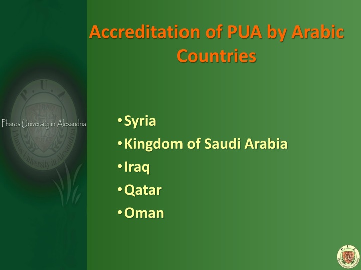 Accreditation of PUA by Arabic Countries