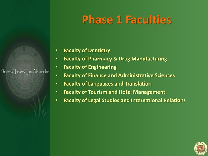 Phase 1 Faculties