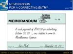 memorandum for a correcting entry