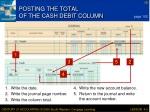 posting the total of the cash debit column