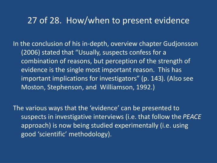 27 of 28.  How/when to present evidence