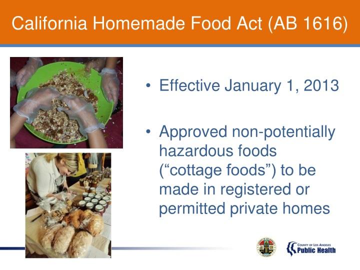 California Homemade Food Act (AB 1616)