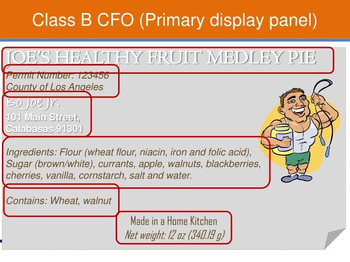 Class B CFO (Primary display panel)