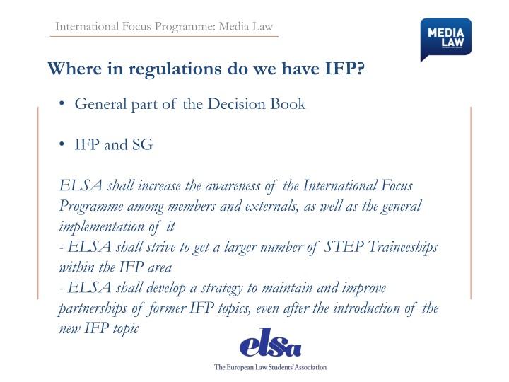 International Focus Programme: Media Law