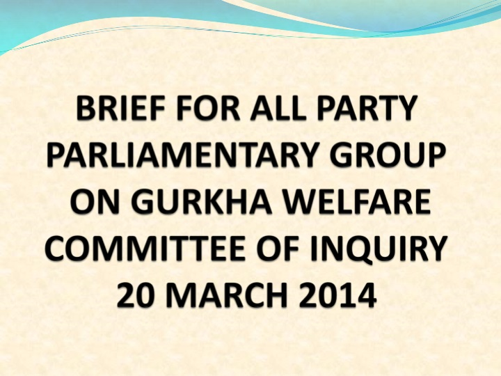 BRIEF FOR ALL PARTY PARLIAMENTARY GROUP