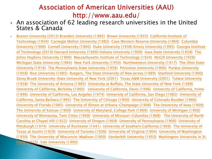 Association of American Universities (AAU)