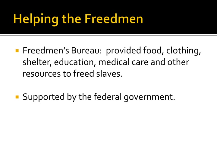 Helping the Freedmen