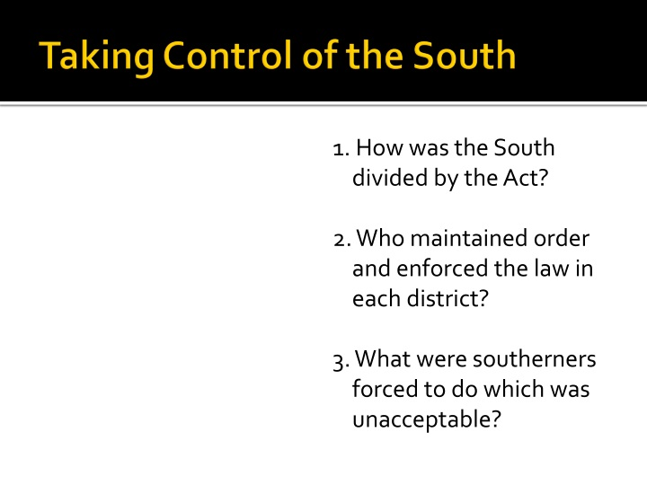 Taking Control of the South