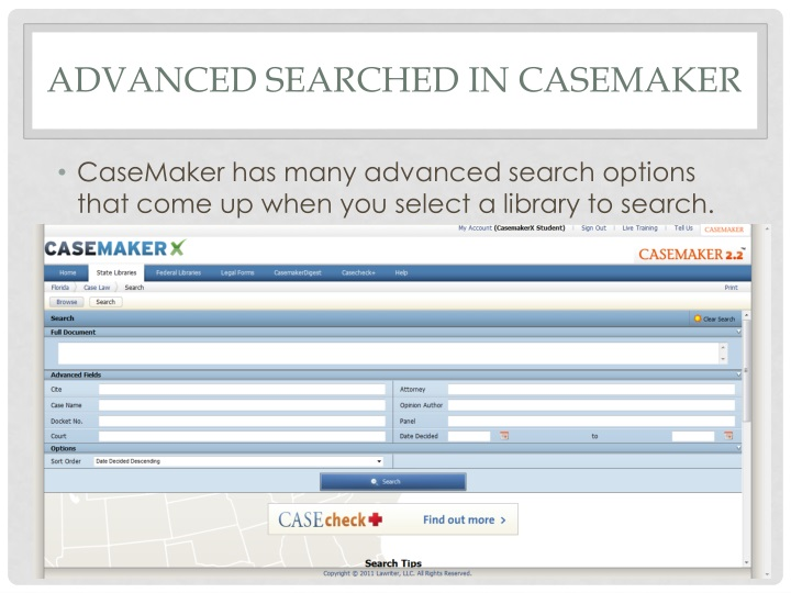 Advanced Searched in Casemaker