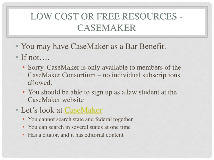 Low Cost or free resources - CaseMaker