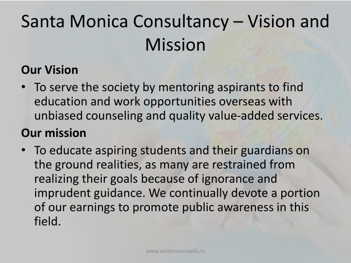 Santa Monica Consultancy – Vision and Mission