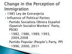 change in the perception of immigration