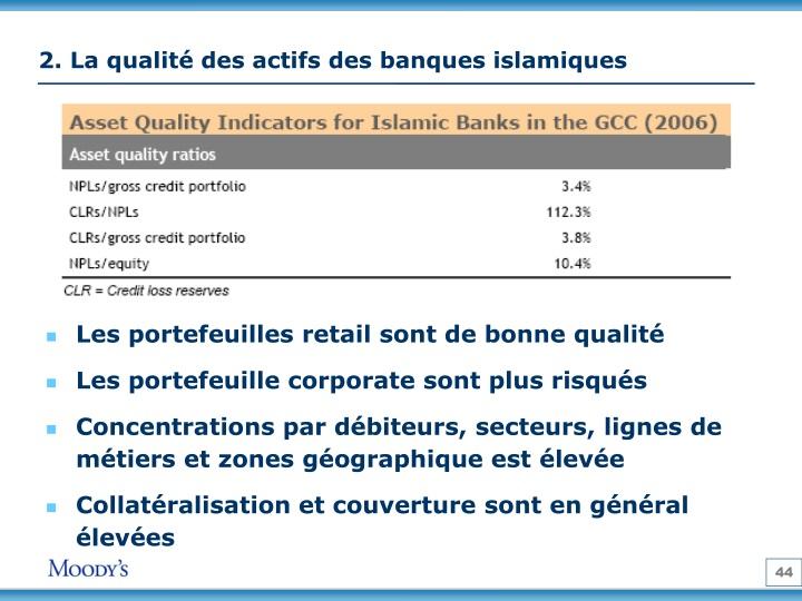 2. La qualité des actifs des banques islamiques