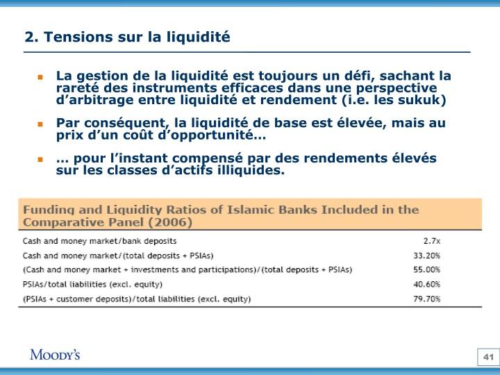 2. Tensions sur la liquidité