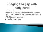 bridging the gap with early back