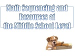math sequencing and resources at the middle school level