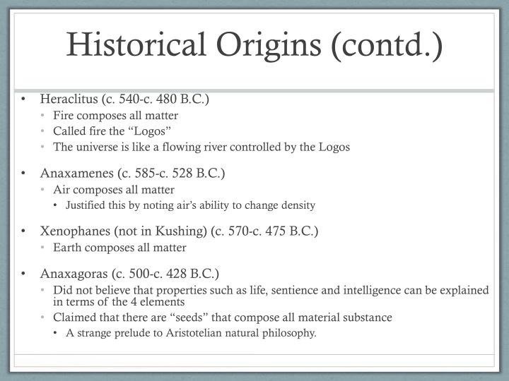 Historical Origins (contd.)