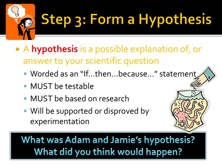 forming of hyphothesis A hypothesis is a tentative statement about the relationship between two or more variables learn more about the elements of a good hypothesis.