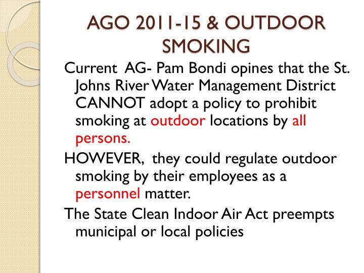 AGO 2011-15 & OUTDOOR SMOKING