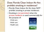 does florida clean indoor air act prohibit smoking in residences