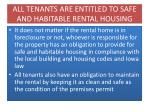 all tenants are entitled to safe and habitable rental housing