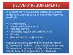 delivery requirements