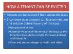 how a tenant can be evicted
