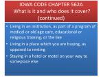 iowa code chapter 562a what is it and who does it cover continued